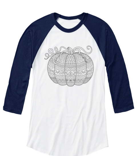 Color Me Pumpkin 2016 372 White/Navy Long Sleeve T-Shirt Front