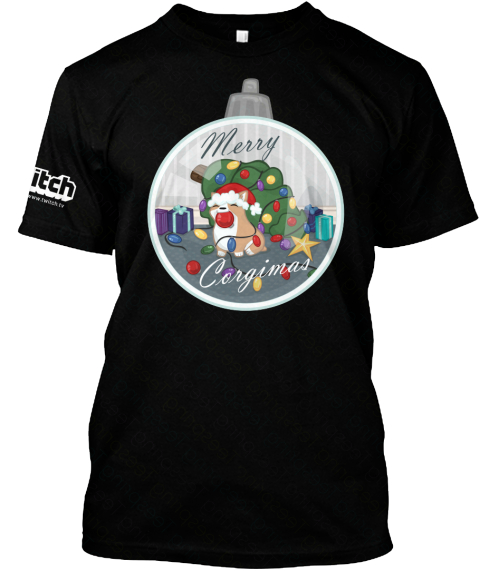 Itch Merry Corgimas Black T-Shirt Front