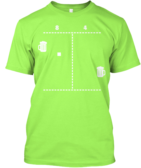The Beer Pong Shirt From Arcade Bros Lime T-Shirt Front