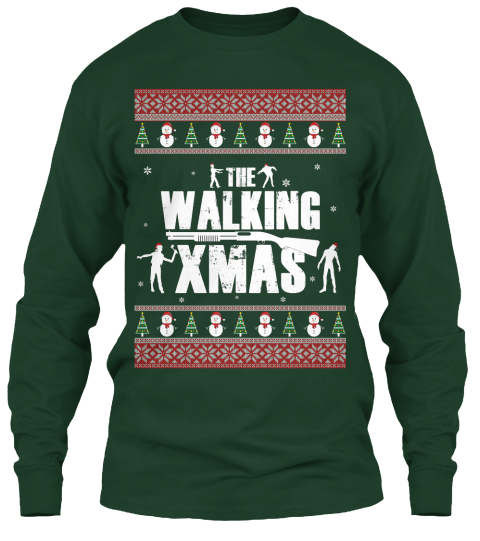 The Walking Xmas Forest Green Long Sleeve T-Shirt Front