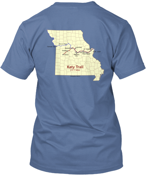 Katy Trail Route Map Denim Blue T-Shirt Back