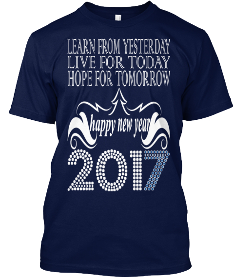 Happy New Year 2017 Navy T-Shirt Front
