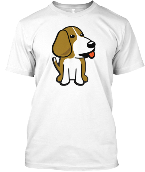 Beagle Board Dog Shirt (White) White T-Shirt Front