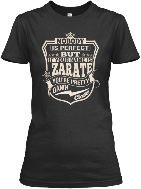 Nobody Perfect Zarate Thing Shirts Black Women's T-Shirt Front