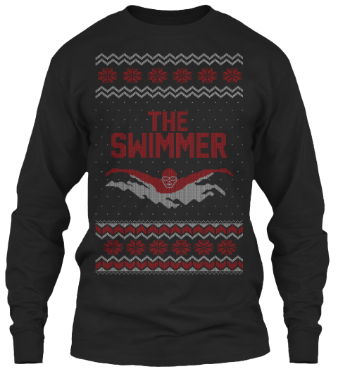 from cheap ugly christmas the swimmer black long sleeve t shirt front - Cheap Christmas Shirts