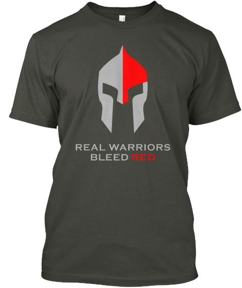 Real Warriors Bleed Red Smoke Gray T-Shirt Front