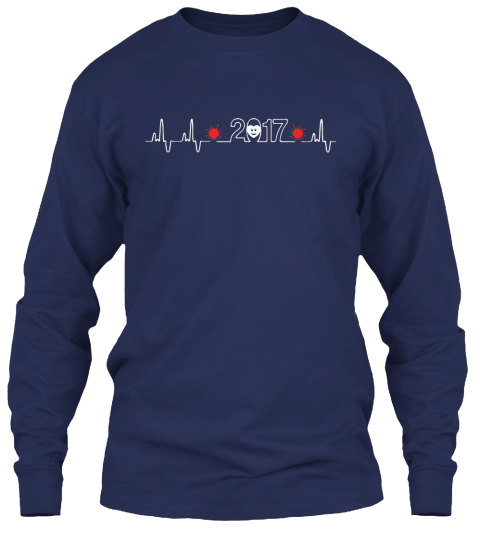Happy New Year   Heartbeat Navy Long Sleeve T-Shirt Front