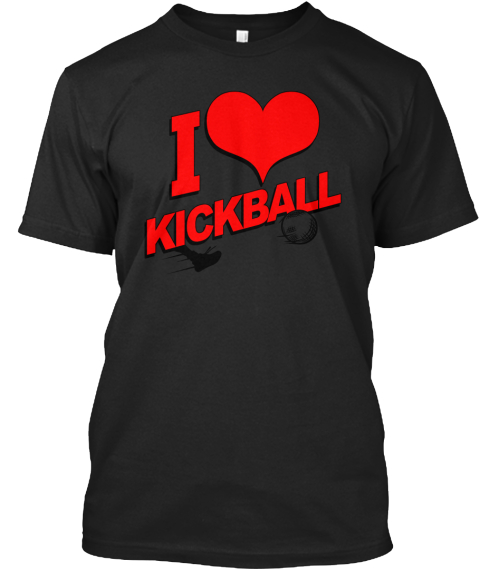 I Love Kickball Black T-Shirt Front