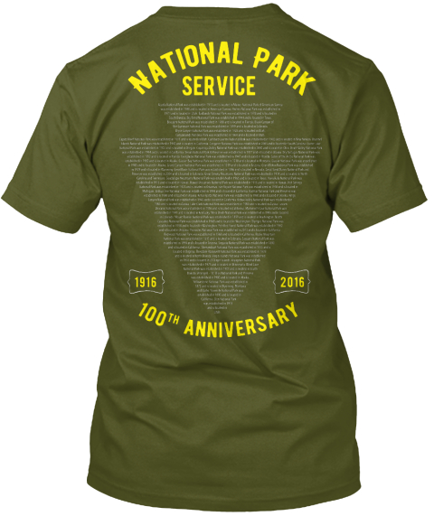 National Service Park 1916 2016 100th Anniversary Olive T-Shirt Back
