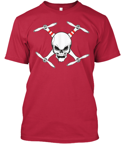 Skull And Drone Red T-Shirt Front