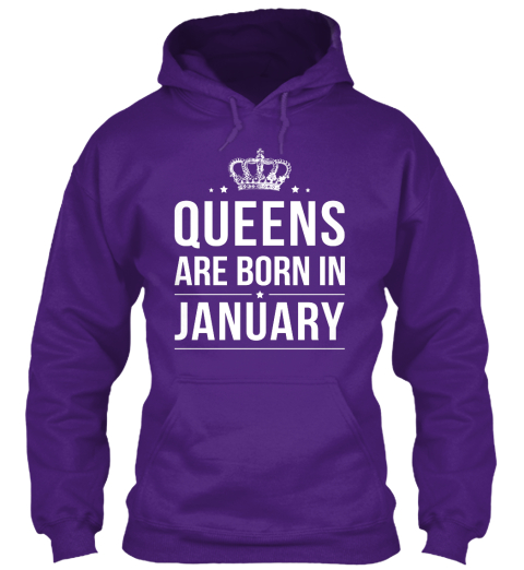 Queens Are Born In January Purple Sweatshirt Front