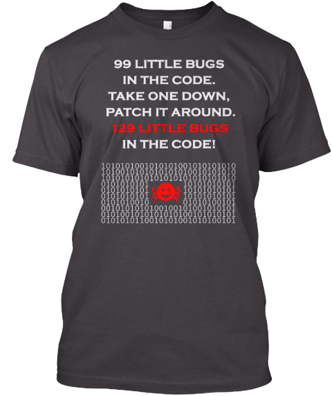 Bugs In The Code Heathered Charcoal  T-Shirt Front