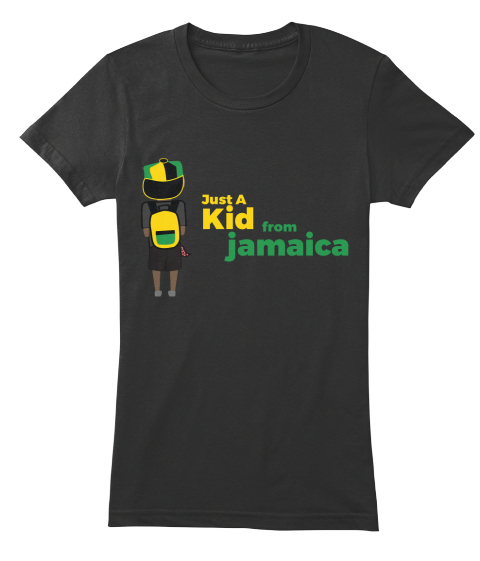 Just A Kid From Jamaica Black T-Shirt Front