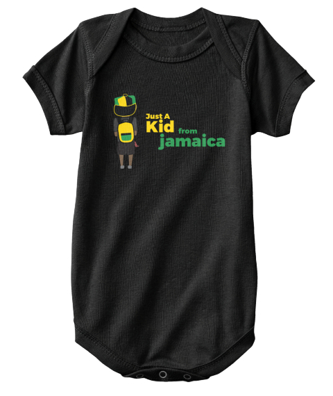 Just A Kid From Jamaica Black Maglietta Front