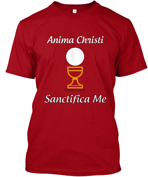 Anima Christi Consider It Catholic Sanctifica Me Deep Red T-Shirt Front