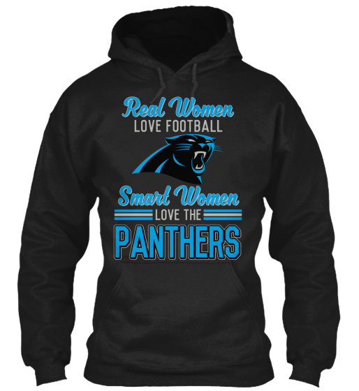 Real Women Love Football Smart Women Love The Panthers  T-Shirt Front