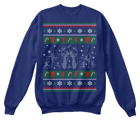 Hockey   Christmas Sweater Oxford Navy Sweatshirt Front
