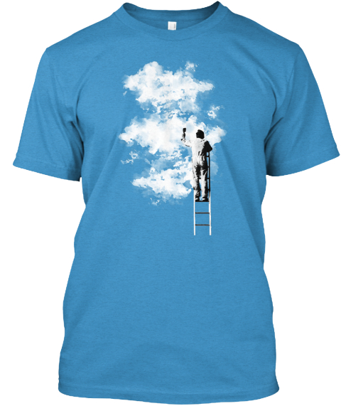 Sky Painting Heathered Bright Turquoise  T-Shirt Front
