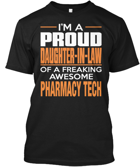 Pharmacy Tech Black T-Shirt Front