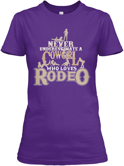 I Love Rodeo. Purple Women's T-Shirt Front
