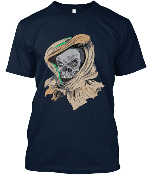 Awesome Skull T Shirt New Navy T-Shirt Front