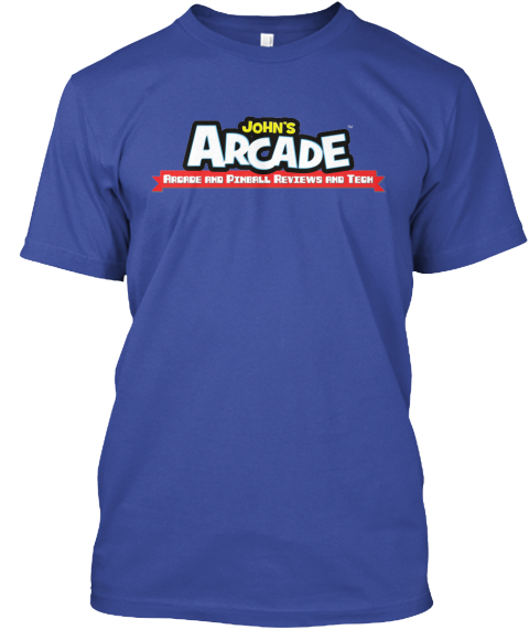 Johns Arcade Arcade And Pinball Reviews And Tech Deep Royal T-Shirt Front