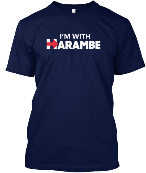 I'm With Harambe Navy T-Shirt Front
