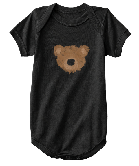Bear Watercolor   Baby Onesie Black T-Shirt Front