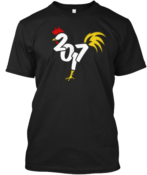 Chinese New Year Of The Rooster 2017  Black T-Shirt Front