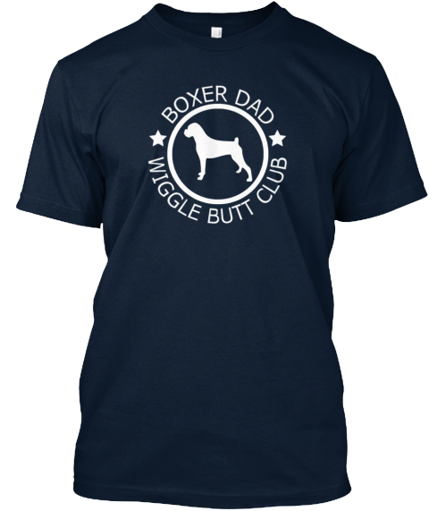 Boxer Dad Wiggle Butt Club  New Navy T-Shirt Front