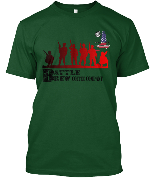 Battle Brew Coffee Company Java To Help  Deep Forest T-Shirt Front