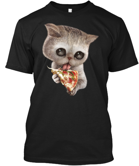 Cat Loves Pizza T-Shirt Front