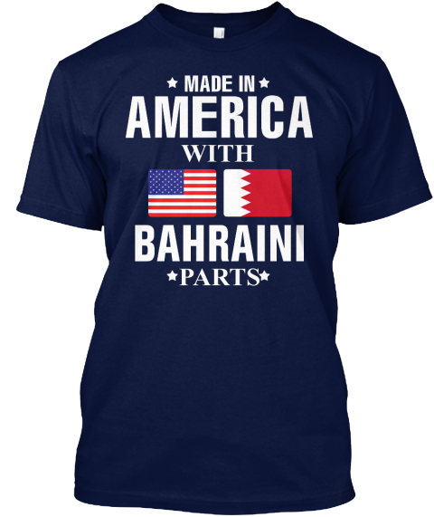 American With Bahraini Parts Navy T-Shirt Front