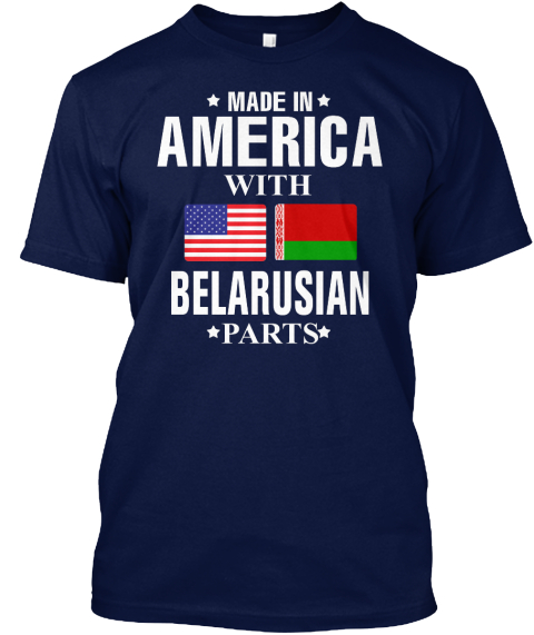 American With Belarusian Parts Navy T-Shirt Front