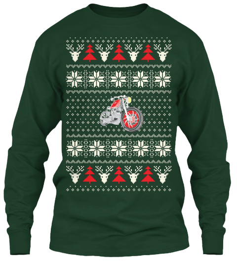 Motorcycle Ugly Christmas Sweater   Hq Forest Green Long Sleeve T-Shirt Front