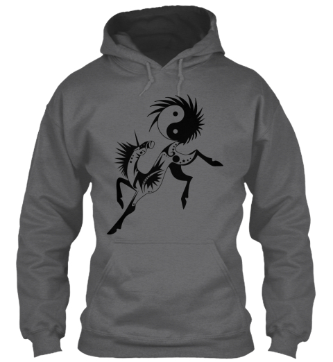 27bcd9c7754b Unicorn With Yin Yang   Hoodie Dark Heather Sweatshirt Front