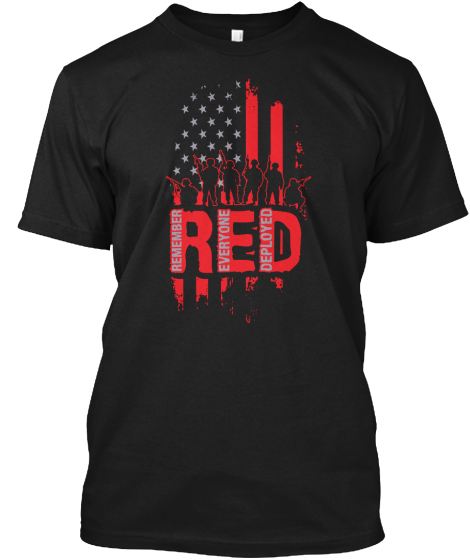 Red Remember Everyone Deployed T-Shirt Front