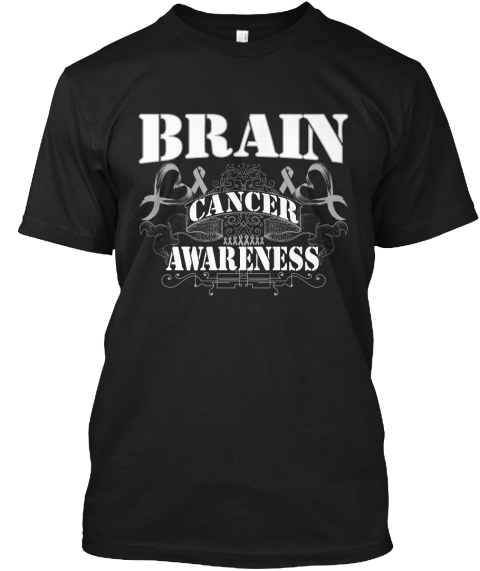 Awesome Brain Cancer Awareness Gift Black T-Shirt Front
