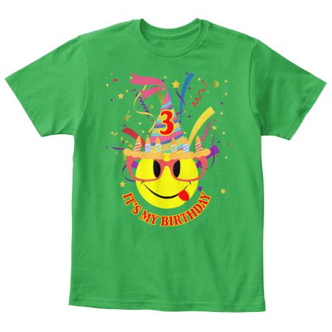 Its My 3rd Birthday Kids Emoji T Shirt Irish Green Front