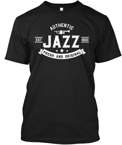Vintage Style Jazz T Shirt Black T-Shirt Front
