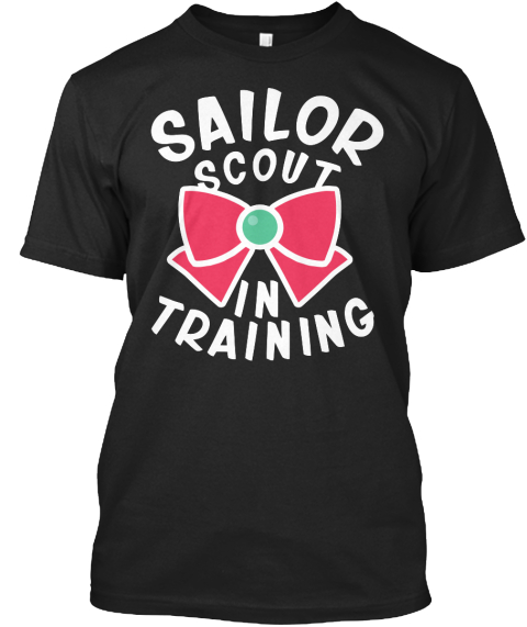 Sailor Scout In Training Black T-Shirt Front
