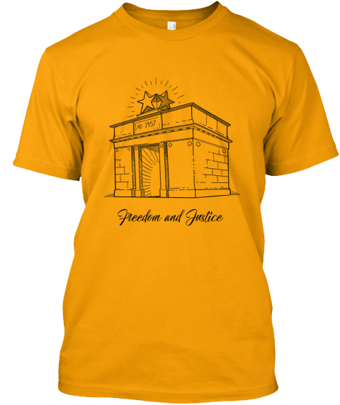 Freedom And Justice Gold T-Shirt Front