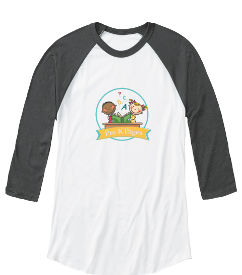 Pre K Pages Gray Raglan Tee White/Asphalt   Long Sleeve T-Shirt Front