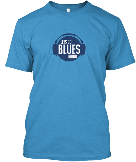 Lets Go Blues Radio Heathered Bright Turquoise  T-Shirt Front