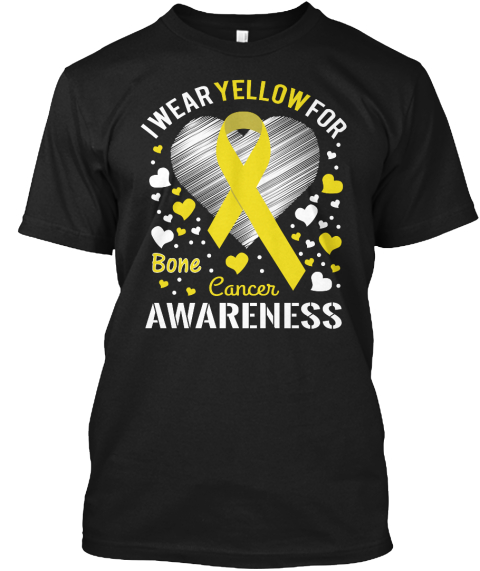 Bone Cancer Awareness Black T-Shirt Front