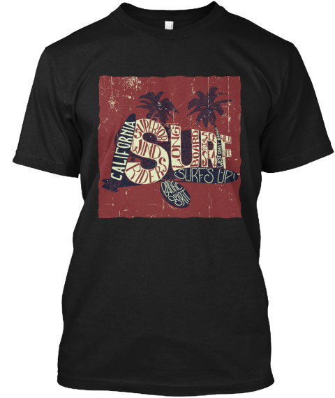 California Surf Black T-Shirt Front