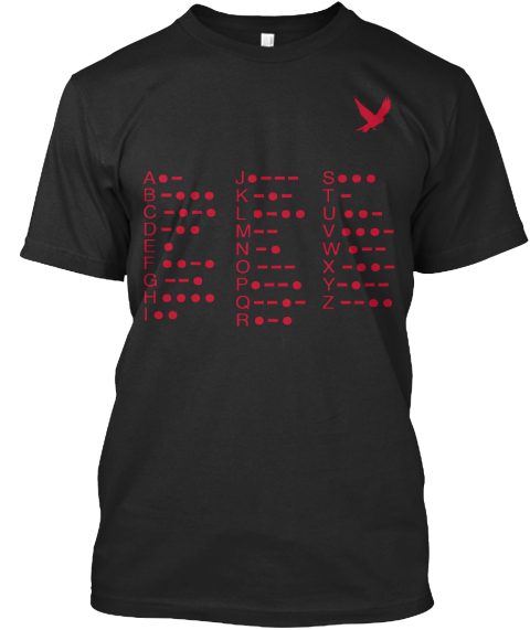 Usa Morse Code Alphabet Red Black T-Shirt Front