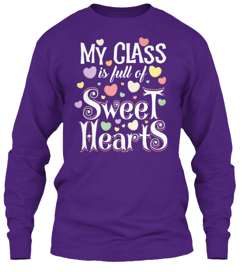 Valentines Day Teacher Shirt   Purple Camiseta de Manga Larga Front