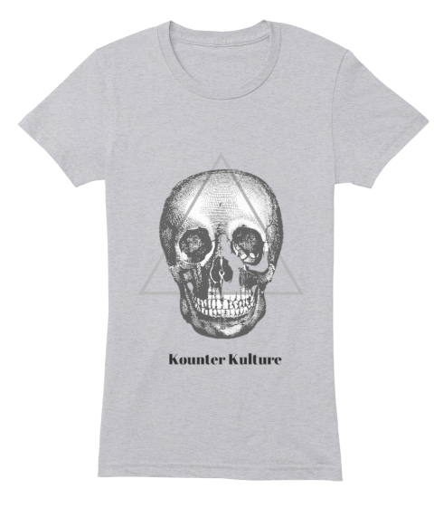 Kounter Kulture Skull Womens Heather Grey Women's T-Shirt Front