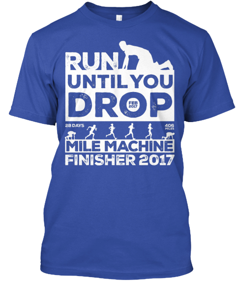 2017 Ruyd Mile Machine Finisher True Royal T-Shirt Front